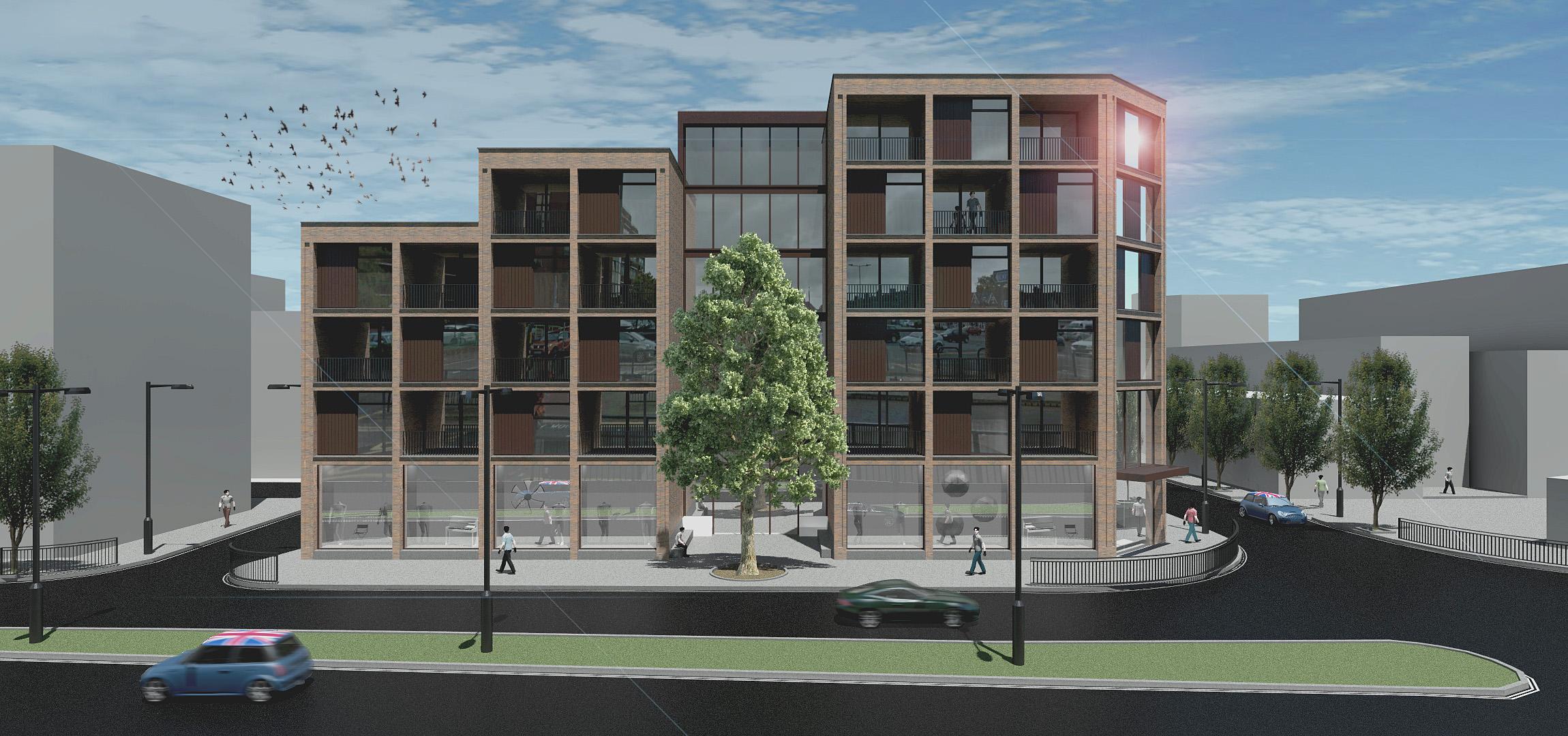 Ontwerp appartementencomplex door architect Maxim Winkelaar uit Amsterdam voor een project in London, Engeland.