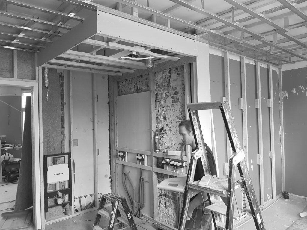 Verbouwingsfoto uitvoering interieur renovatie appartement Oud-Zuid te Amsterdam.