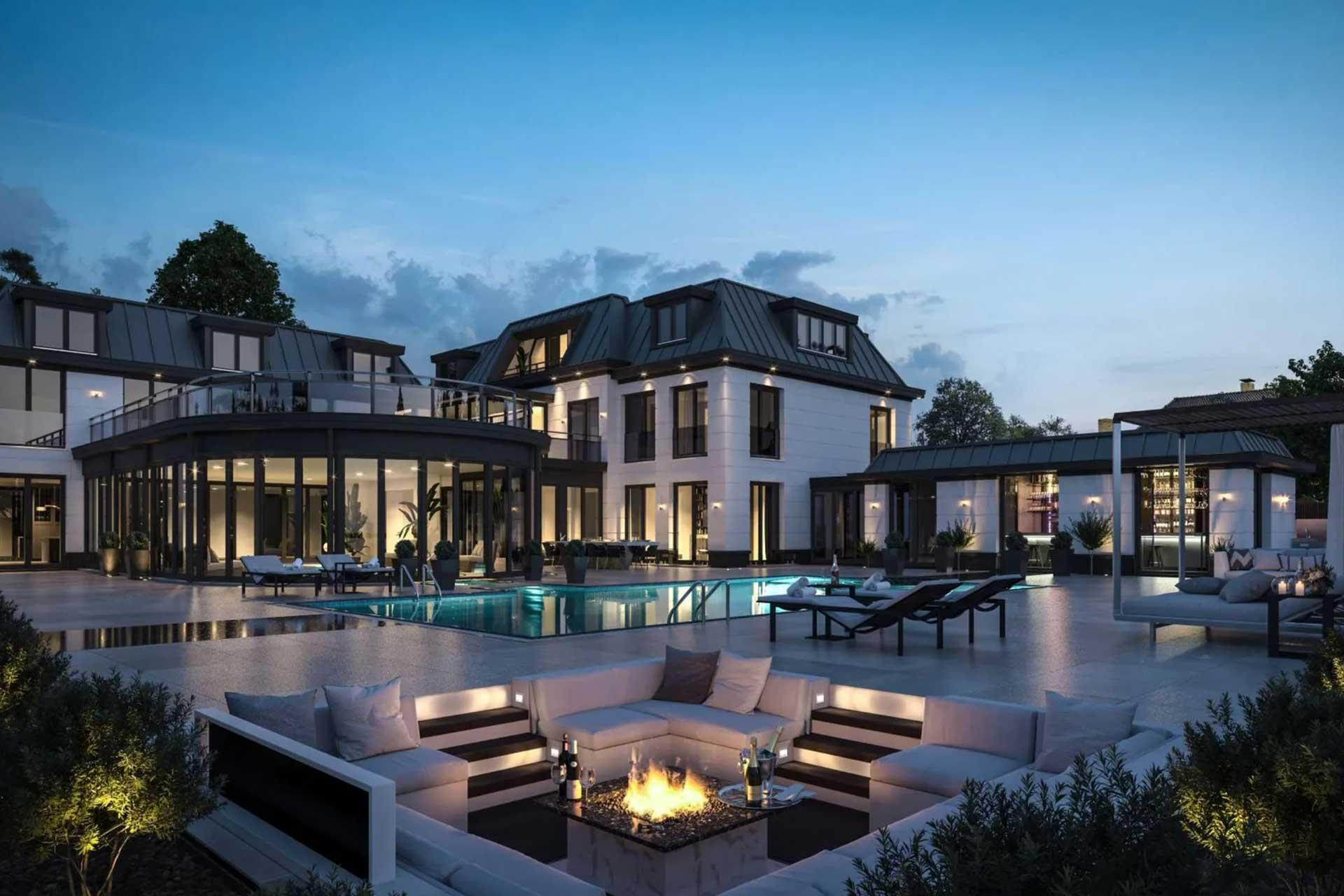 Nieuwbouw Villa Vinkeveen in wit klassieke architectuurstijl met binnen en buiten zwembad.