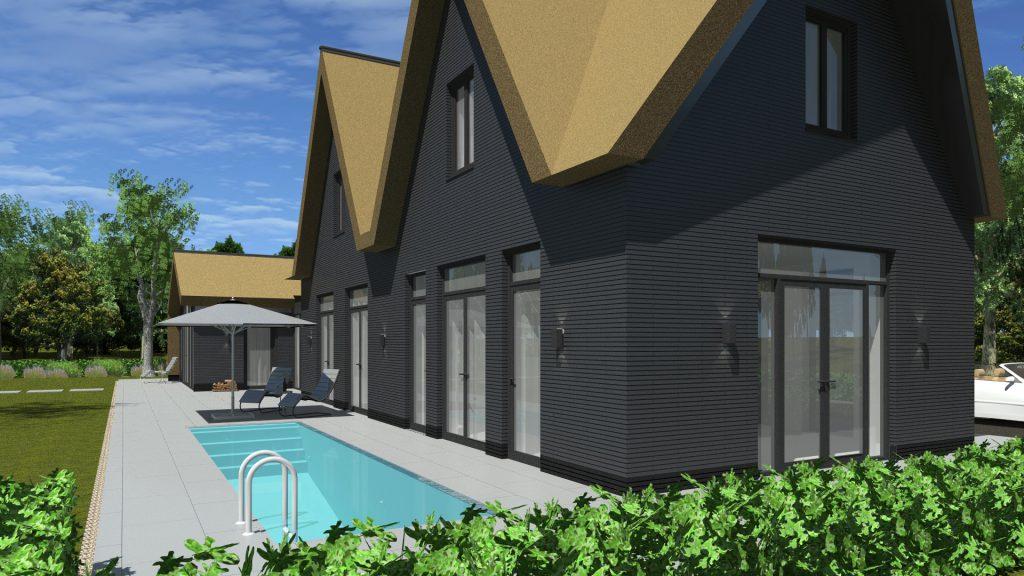 Nieuwbouw ontwerp voor vrijstaande woning in Kortenhoef aan de Loosdrechtse plassen door architect amsterdam Maxim Winkelaar