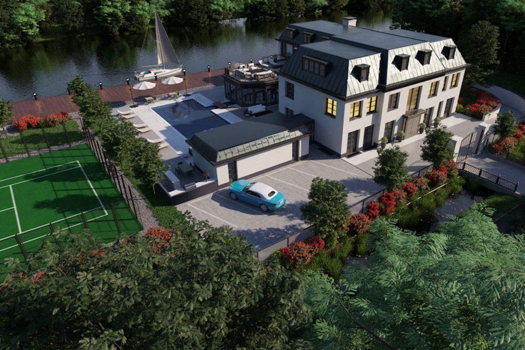 Bij binnenkomst is er een vide gemaakt van 9 meter hoog met een elegante dubbele trappartij. De woning bevat onder andere een kantoorruimte, gym met wellness, binnen- en buitenzwembad, thuisbioscoop, barruimte met geluidstudio, 8 slaapkamers met 8 badkamers en inloopkasten. De woning is onderkelderd, waarin er een parkeergarage is voor meerdere auto's. Aan de waterkant is het boothuis gecombineerd met een extra gastenverblijf. De woning wordt in zijn geheel zeer luxe afgewerkt met hoogwaardige materialen en bovendien high-end installatietechnieken.