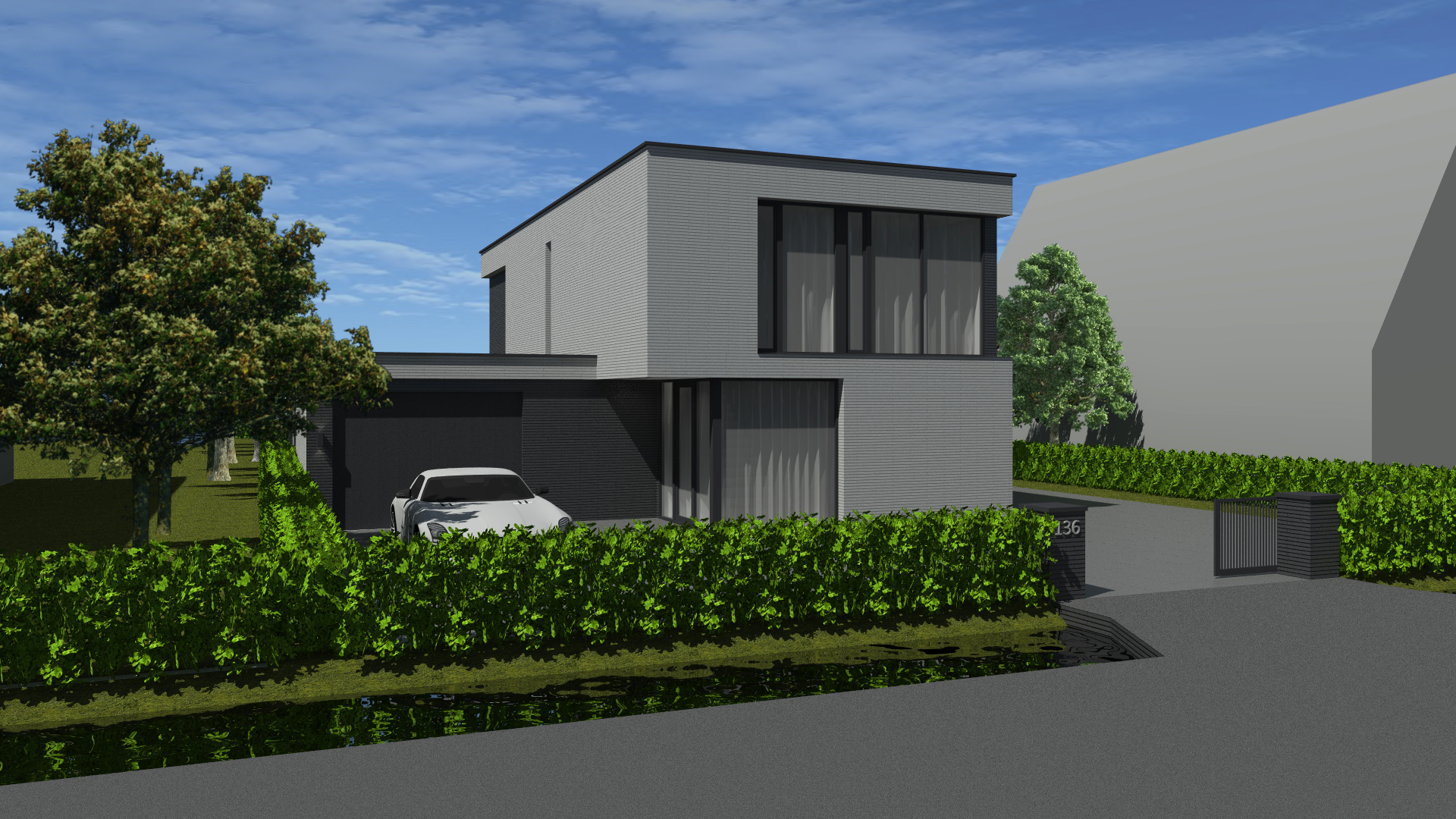 Nieuwbouwwoning Vinkeveense plassen met moderne vormen in metselwerk.