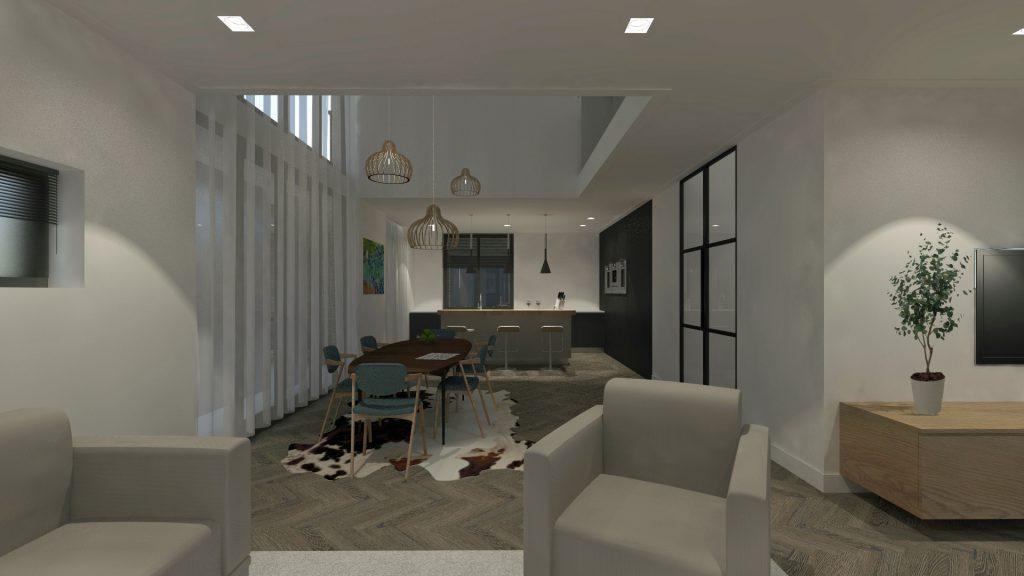 De woning heeft twee indrukwekkende vides. De vide bij de entree, waarbij een geheel open trappenhuis met grote glaspartij veel natuurlijk licht binnenlaat. En een vide in het hart van de leefruimte waar de eettafel gepositioneerd is. De grote glazen gevel biedt naast veel licht ook prachtig uitzicht over de landerijen. De woning bevat verder drie slaapkamers, een aparte studie en drie badkamers. Duurzame aspecten Naast hoogwaardige isolatie toepassingen wordt de woning voorzien van een warmtepomp in combinatie met zonnepanelen. De dakoverstekken aan de achterzijde van de woning werken als luifel in de zomertijd wanneer de zon hoog staat.
