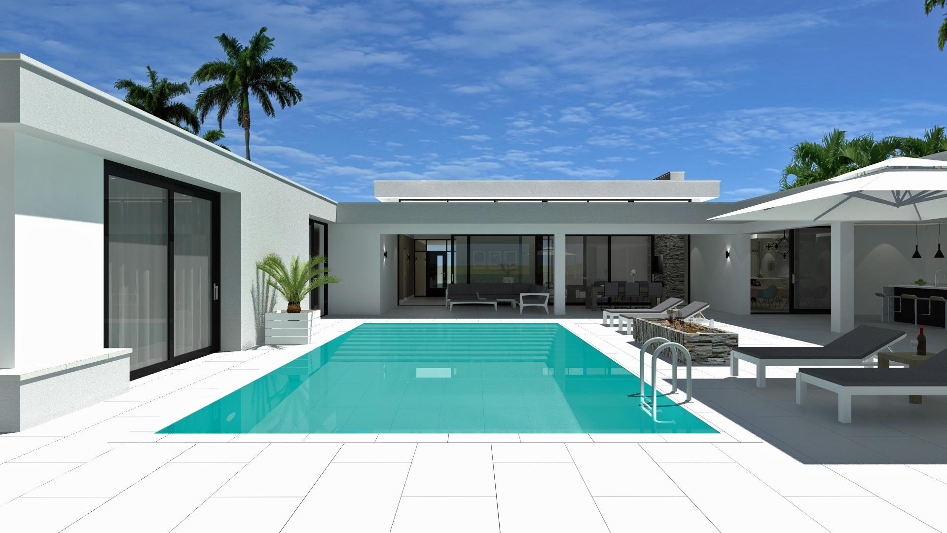 Op een nieuwbouwkavel in Palm Beach (Noord) Aruba is een ontwerp gemaakt voor een vrijstaand woonhuis. Aruba is een eiland gelegen in het Caraïbisch gebied. De bouwkavel is ongeveer 1100 m2 groot en ligt in een villawijk nabij het strand. Concept De particuliere opdrachtgever wilde graag een bungalow waarbij privacy hoog in het vaandel staat. Tevens was de wens om een gastenverblijf te hebben dat apart toegankelijk is. Wij hebben een ontwerp gemaakt met een patio aan de achterzijde van de woning. Deze patio geeft beschutting tegen de tropische zon en is besloten van de openbare weg aan de voorzijde van de woning. In het hart van de patio is een zwembad met rondom veranda's. Het U-vormige volume heeft aan de linkerzijde direct toegang gekregen naar de gastenverblijf. Het U-vormige volume hebben wij qua functie indeling opgedeeld in twee delen; enerzijds een actief en anderzijds een passief deel. De passieve zijde bevatten alle functies als de slaapkamers, badkamers en garage. De actieve zijde bevat de woonkamer, study, woonkeuken, buitenkeuken en veranda's. Tussen