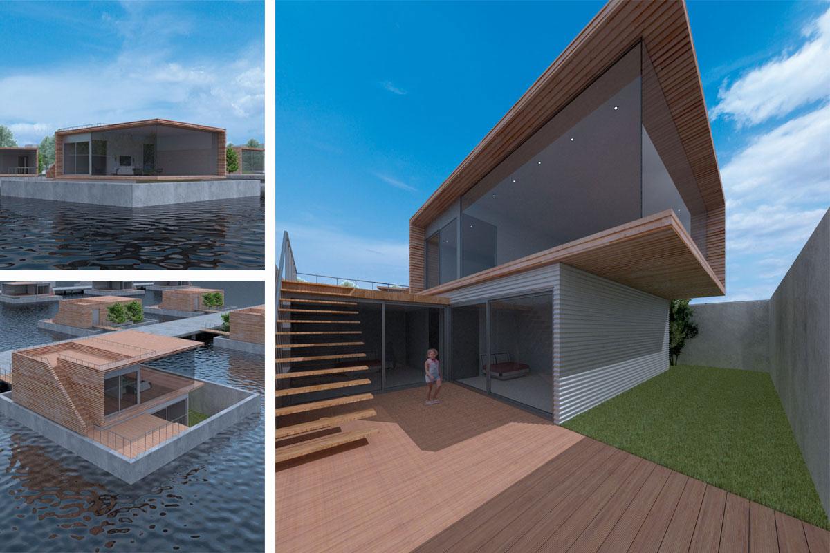 Watergaten is een ontwerp voor moderne drijvende woningen met tuin en dakterras door architect Maxim Winkelaar.
