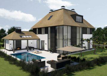 Nieuwbouw villa met rietenkap in Utrecht omgeving ontwerp door rchitect Maxim Winkelaar uit Amsterdam verzorgt het ontwerp en interieurontwerp met vergunningen.