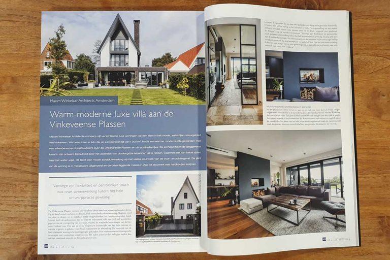 Nieuwbouwvilla in Vinkeveen aan de Vinkeveense Plassen ontwerp door Architect Maxim Winkelaar uit Amsterdam is gepubliceerd in het magazine The Art of Living.