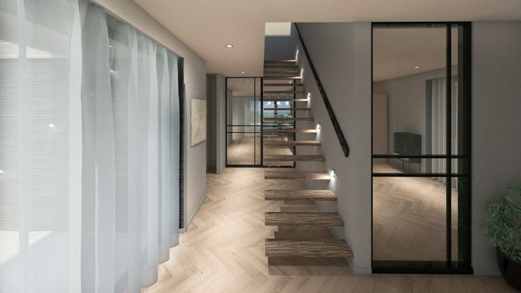 Ontwerp voor moderne nieuwbouw villa in twee kleuren metselwerk te Vinkeveen door architect Maxim Winkelaar